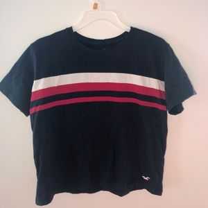 striped crop top- navy blue, red, white